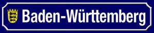 Baden - Württemberg Emblem Road Sign Tin Street Sign 10 X 46 CM