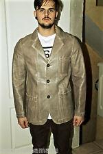 ARMANI JEANS joli manteau veste coat vintage en cuir beige taille 40 (M)
