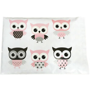 Designer-Poly-Mailers-Owl-10x13-034-or-6x9-034-Plastic-Mailing-Shipping-Envelopes-Pink