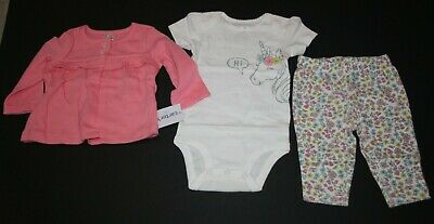 New Carter/'s Girls 3 Piece Cardigan Top Pants Set Narwhal preemie 6m 9m 12m