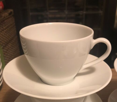 vintage ikea white 24 cups and saucers no 365 susan pryke Selling In Sets of 4
