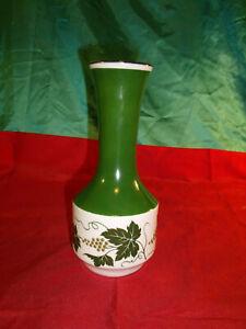 GDR-DDR-Vintage-alte-Blumenvase-Wein-Trauben-gruen-weiss-Goldrand-Vase-Porzellan