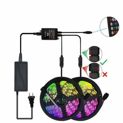16//32//64Ft 5050 3528 RGB LED Strip Light Kit WiFi//Bluetooth//Music Control Power