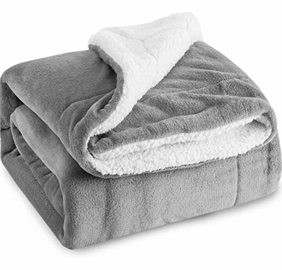 Bedsure Sherpa Throw Blanket grau Twin Größe 60x80 Bedding Fleece Reversible Blan