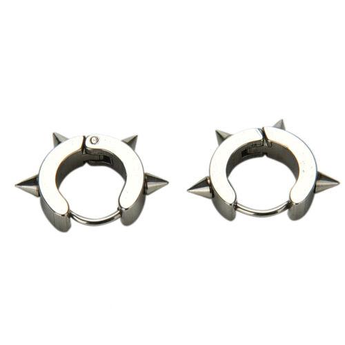 Titanium Steel Punk Rivet Ear Studs Spike Hoop Huggie Piercing Earring Hot —WR