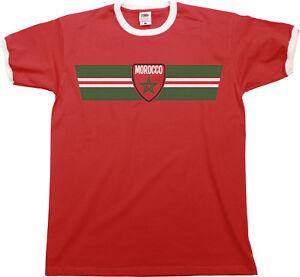 Mens MOROCCO Football T-Shirt WORLD CUP 2018 Russia Retro Strip Kit ... 7ffb52262