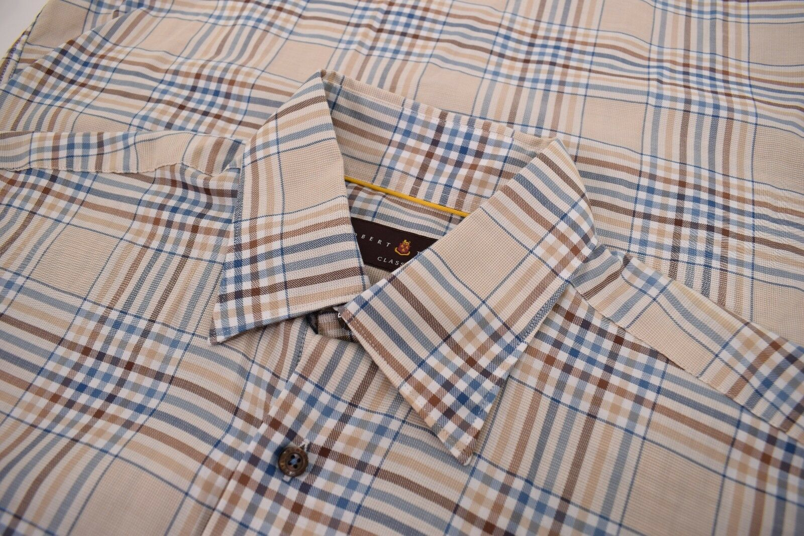 Robert Talbott NWT Button Down Dress Shirt Size M In Light Brown & bluee Plaid
