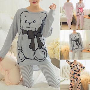 Women-Sleepwear-Long-Sleeve-Pajamas-Sets-Character-Printing-Home-Nightwear