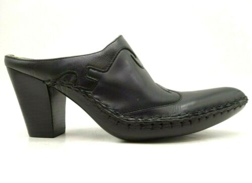 Frye Black Leather Slide Western Block Heel Mules