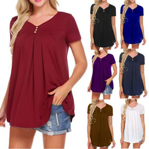 Women-039-s-V-Neck-A-Line-Tunic-Short-Sleeve-Loose-Top-T-Shirt-Plus-Loose-Blouse-Top