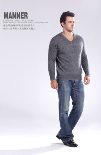 New Men/'s Crewneck V-neck Pullovers Sweater 100/% Mink Cashmere Sweaters