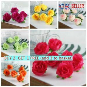 10 20 50pcs Small Silk Rose Bud Heads Artificial Fake Flower Diy Craft New Ebay
