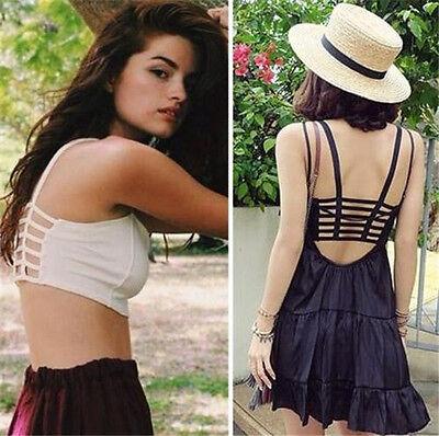 Sexy Fashion Backless Crop Top Bra Padded bralette Midriff Vest Cami Tank