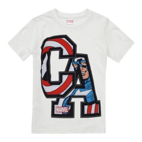 Official Marvel Comics Boys T-shirt Superhero Captain America Kids Tops White