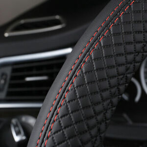 Black-38cm-Car-Steering-Wheel-Cover-Leather-Universal-Anti-Slip-Sport-styling