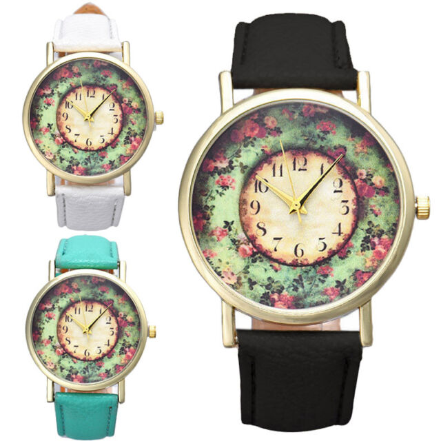 Fashion Pastorale Women Watch Floral Leather Band Analog Quartz Dial Wrist Watch