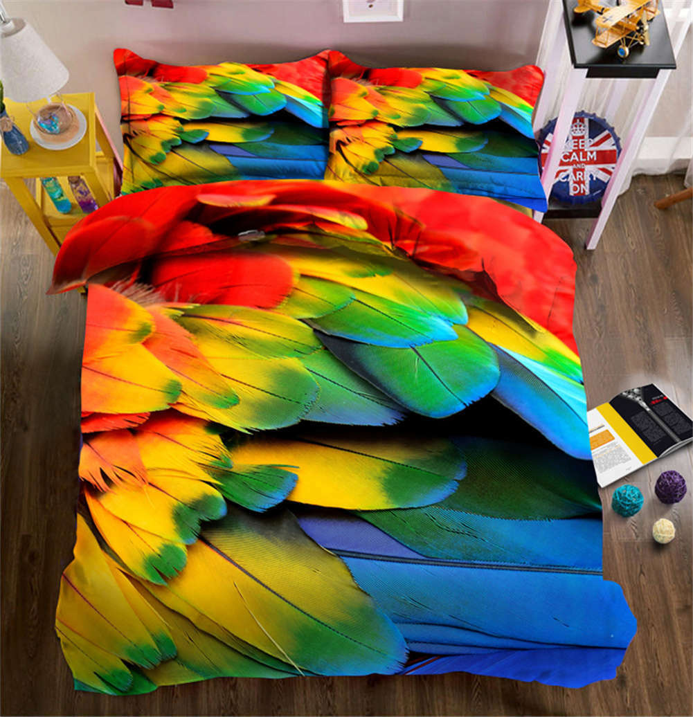 colorful Feathers 3D Printing Duvet Quilt Doona Covers Pillow Case Bedding Sets