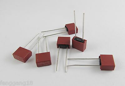 10Pcs DIP Mounted Miniature Cylinder T2A 2A 250V Red Slow Blown Micro-Fuse