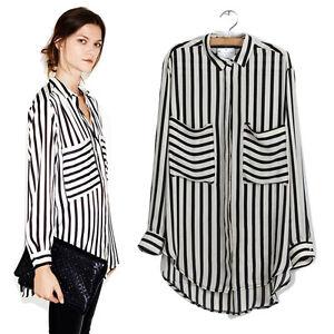 Women Long Sleeve Vertical Striped Chiffon Tops Button