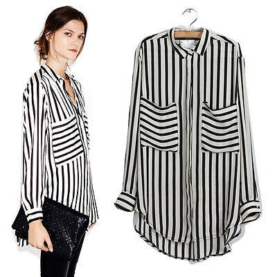 Women Long Sleeve Vertical Striped Chiffon Tops Button Down Shirt Blouse T-shirt