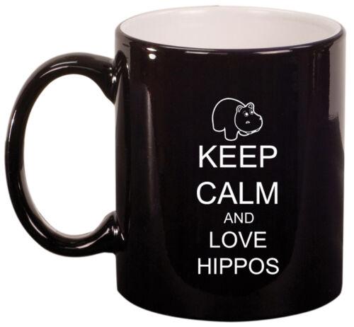 11oz Ceramic Coffee Tea Mug Glass Cup Keep Calm and Love Hippos