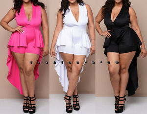 669f2159e90 Sexy Hi Lo Cascade Peplum Romper Mini Dress Bodysuit Jumpsuit Dance ...