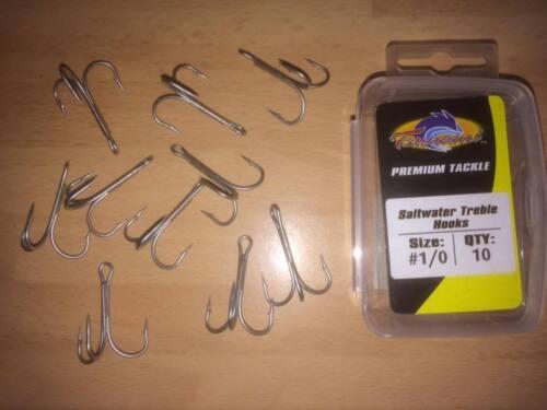 Heavy Duty Saltwater Treble Fishing Hooks lure, live bait 1//0, Size 1