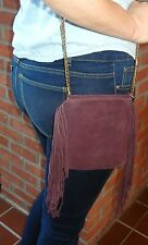 UO Urban Outfitters Ecote Womens Wine Suede Chain Mini Crossbody Bag Retail $44