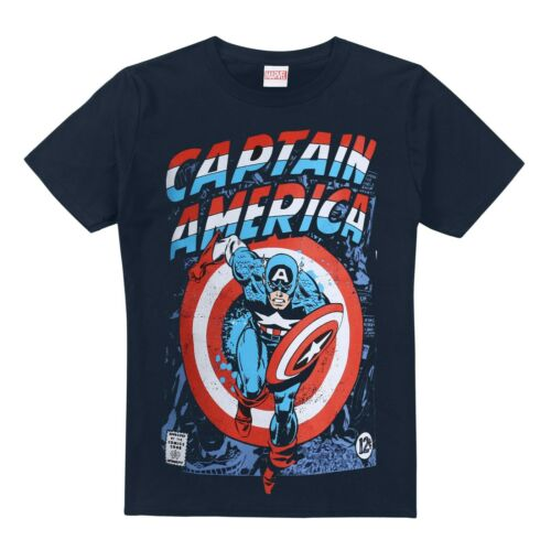 Navy Blue Captain America Attack Print On Front Official Marvel Boys T-Shirt