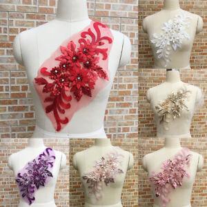 FT-Flower-Sequin-Rhinestone-Motif-Trim-Applique-Wedding-DIY-Sewing-Embroidery-t