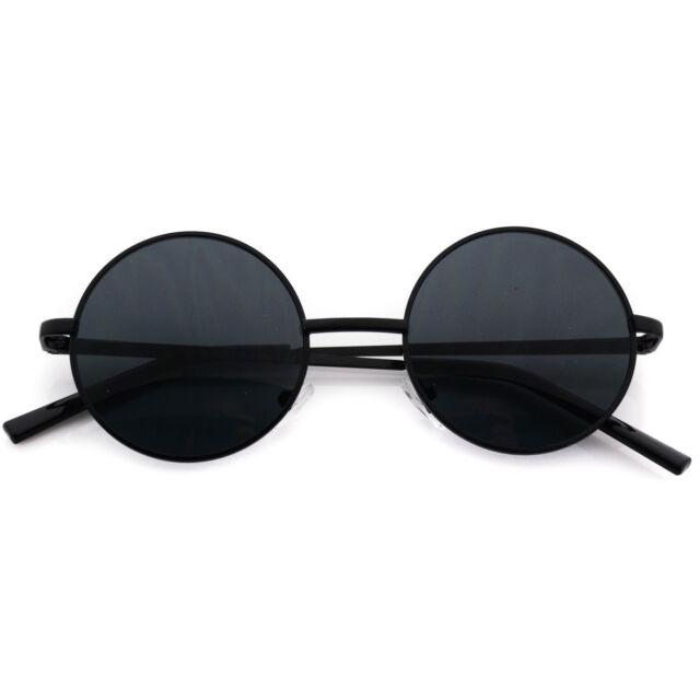 abb0ea98a95 Metal Round Circle Ozzy Elton John Black Tint Lennon Style Sunglasses