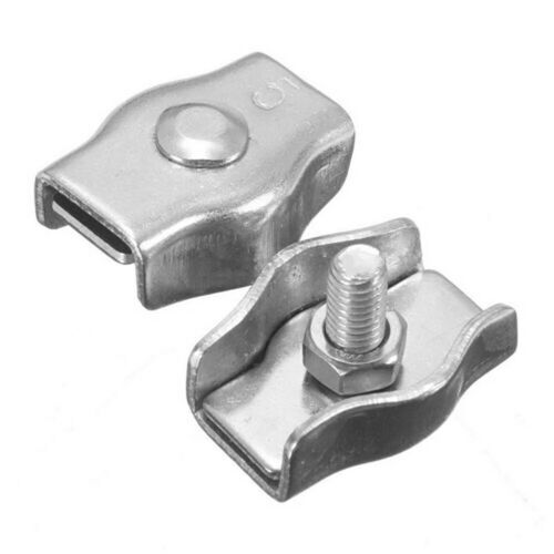 2Pcs M2-M8 Stainless Steel Wire Rope Single Grip Clips Cable Clamps Caliper Tre