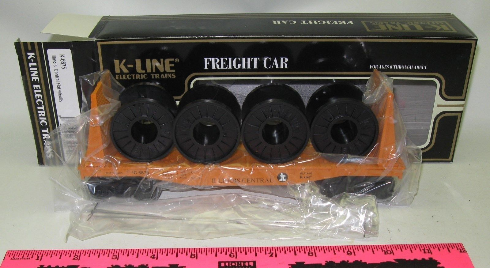 New K-Line K-6675 Illinois Central flat with coils