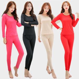 Fashion Women Thermal Underwear 2Pcs Set For Fall Winter Long Johns Top + Bottom