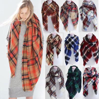 Womens Winter Warm Tartan Check Neck Shawl Scarf Wrap Stole Plaid Pashmina Latb