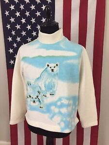vtg-Polar-Bear-Mock-Turtleneck-Fleece-Jacket-Sweater-women-039-s-LARGE-kitsch-1a555