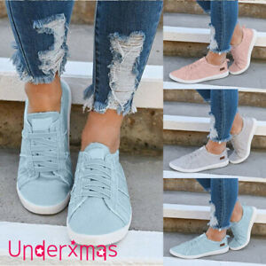 Womens-Slip-On-Canvas-Flat-Trainers-Ladies-Casual-Loafers-Plimsolls-Pumps-Shoes