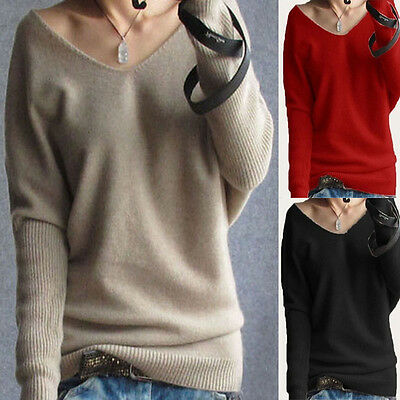 New women V neck Pullover Knitwear Wool Blend Sweater  Jumper Plus Size 8-18 S