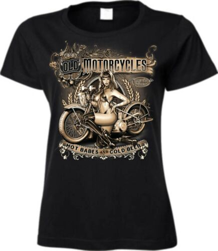 Frauen T Shirt in schwarz HD V Twin Biker-/& Choppermotiv Modell Old Motorcycles