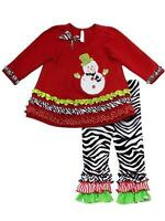 snowman Zebra Ruffles Pants Girls Clothes 4t Christmas Toddler Holiday