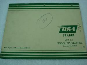 BSA-1968-B25-STARFIRE-250-OEM-SPARES-REPLACEMENT-LIST-PARTS-CATALOG-MANUAL-5138