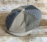 Men's Multi Plaid Patchwork Apple Jack Paperboy Gatsby Newsboy Snapbill Hat