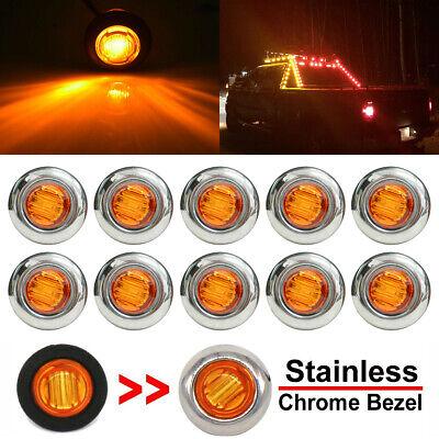Round LED Marker Lights,YuanGu 3//4 LED Front Rear Side Marker Indicators Light Tail Light Amber 10V-30V Waterproof for Car Truck 10 Pcs