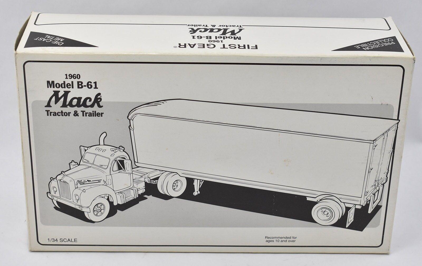 1960 Modelo B-61 Mack remolque de tractor Smith & Wesson 1 34 First Gear 1994