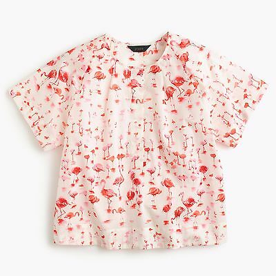 J.Crew Short-sleeve Top in Flamingo Print - NWT - 00, 0, 2, 4, 8