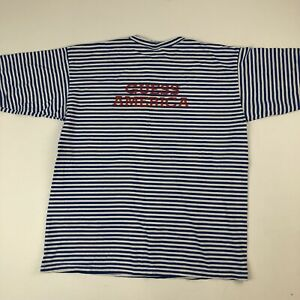 Womens-Vtg-GUESS-AMERICA-Blue-White-Spell-out-L-S-Top-Shirt-OSFA-Nautical-USA