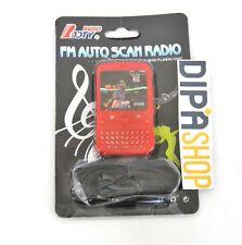 Mini Radio Portatile Fm Auto Scan Con Luce Led Cuffie Auricolari hsb