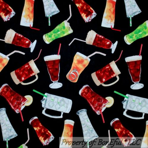 BonEful Fabric FQ Cotton Quilt Black Red Green White Bar Drink Soda Ice Tea Xmas