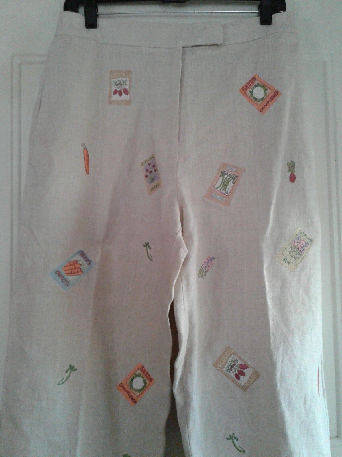 Alexandra Bartlett damen 10 Pants Slacks Beige 100% Linen Gardening Seed Packet