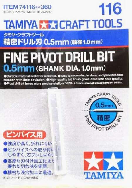 Tamiya - 74116 Fine Pivot Drill Bit 0.5mm Shank Dia. 1.0mm 4950344741168